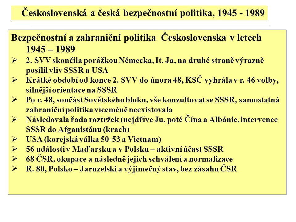 Československá a česká bezpečnostní politika, 1945 - 1989