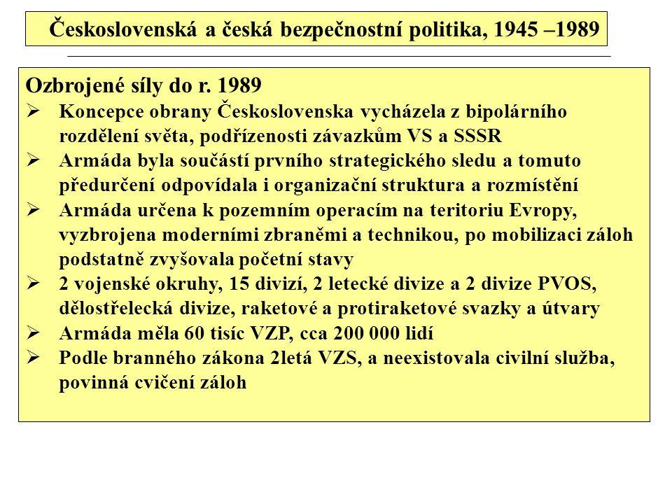 Československá a česká bezpečnostní politika, 1945 –1989
