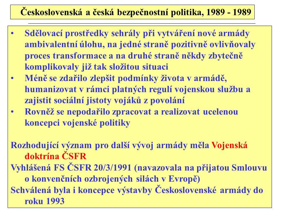 Československá a česká bezpečnostní politika, 1989 - 1989