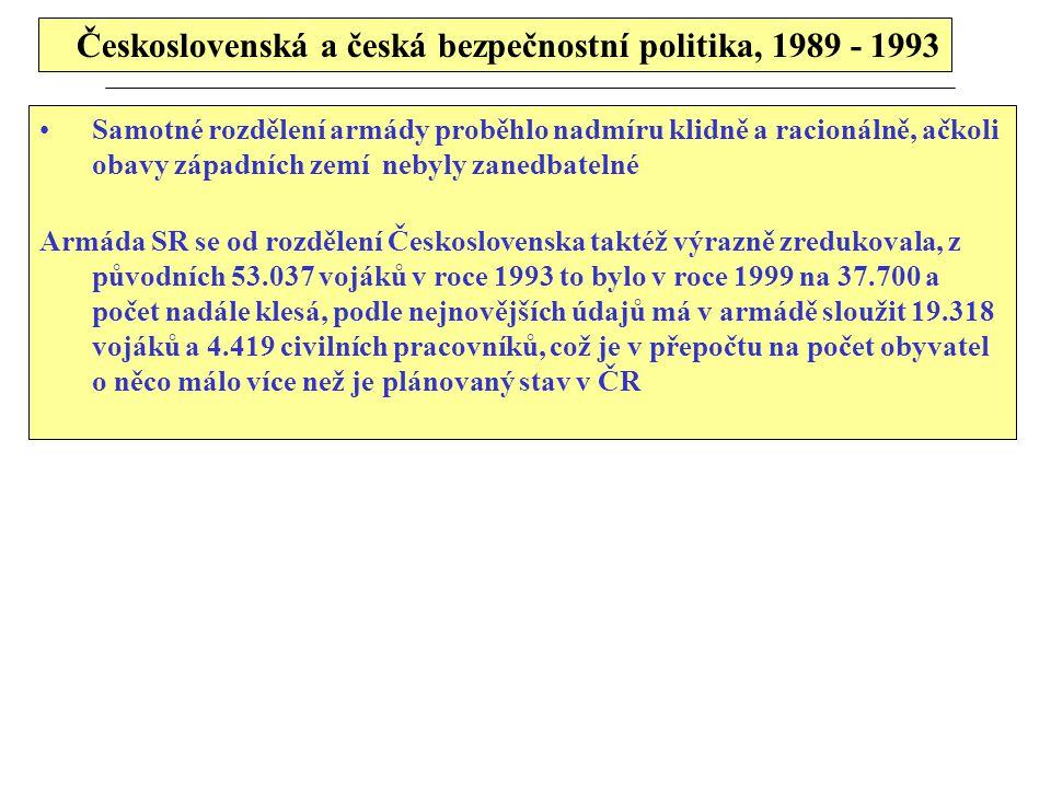 Československá a česká bezpečnostní politika, 1989 - 1993