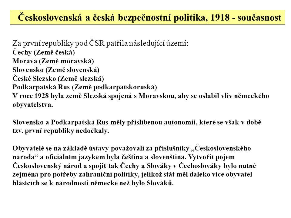 Československá a česká bezpečnostní politika, 1918 - současnost