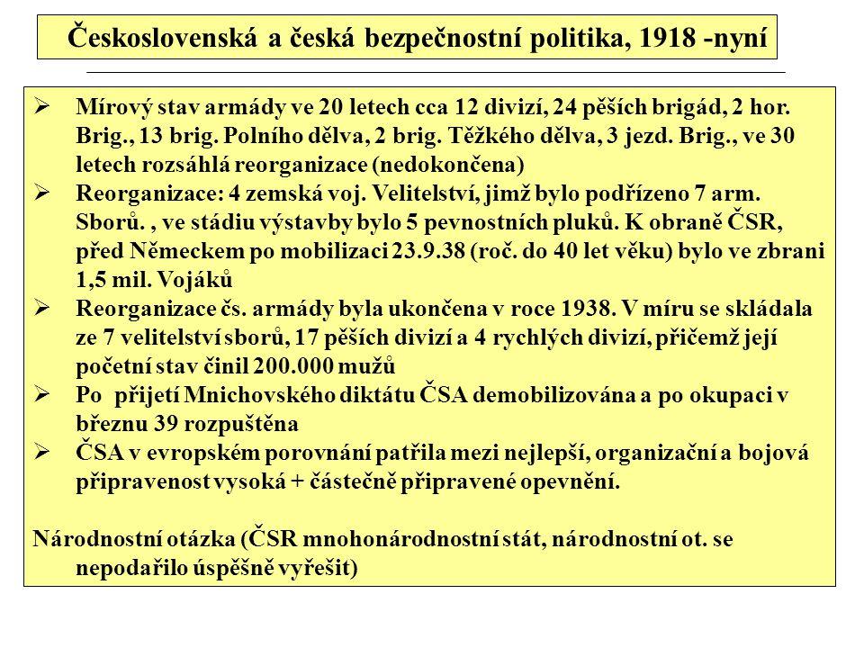 Československá a česká bezpečnostní politika, 1918 -nyní