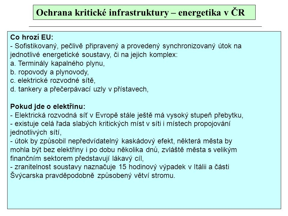Ochrana kritické infrastruktury – energetika v ČR
