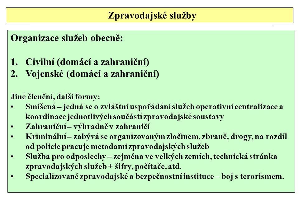 Organizace služeb obecně: Civilní (domácí a zahraniční)