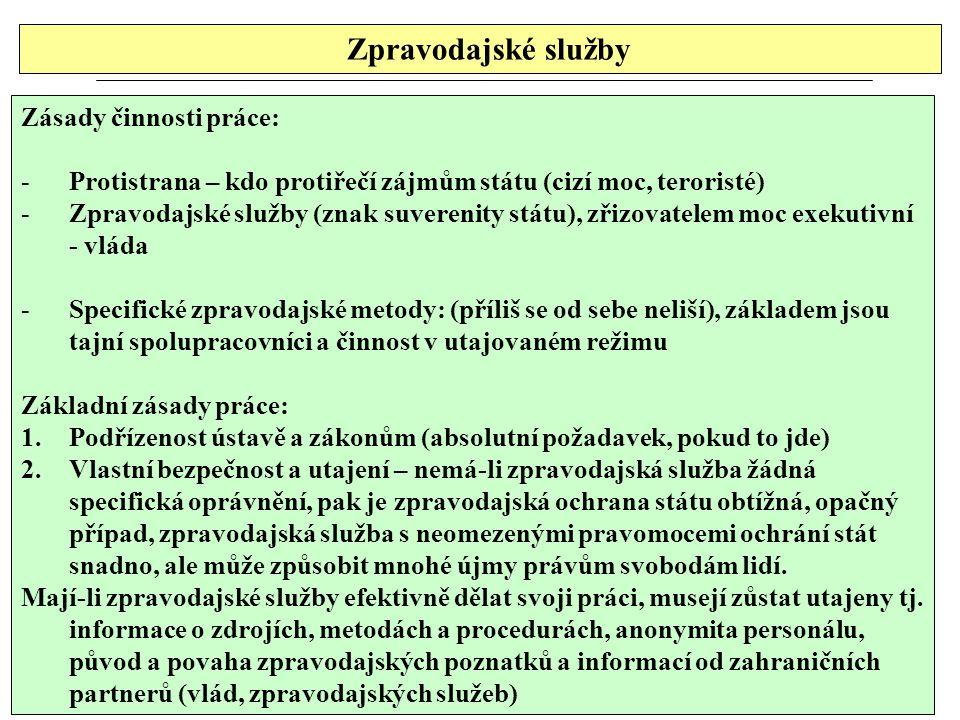 Zpravodajské služby Zásady činnosti práce: