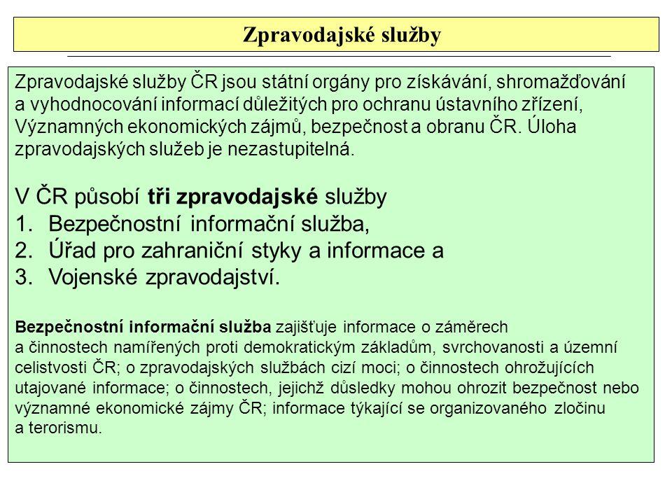 V ČR působí tři zpravodajské služby Bezpečnostní informační služba,