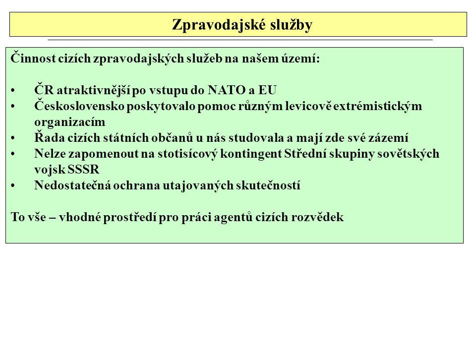 Zpravodajské služby Činnost cizích zpravodajských služeb na našem území: ČR atraktivnější po vstupu do NATO a EU.