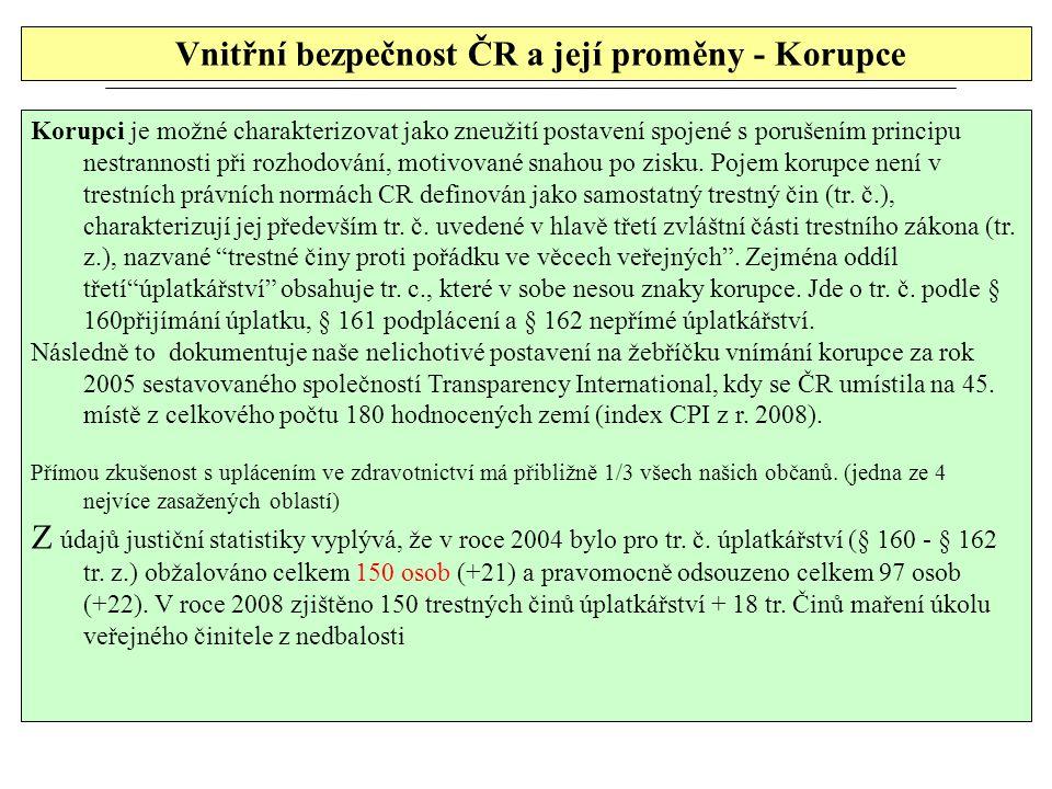 Vnitřní bezpečnost ČR a její proměny - Korupce