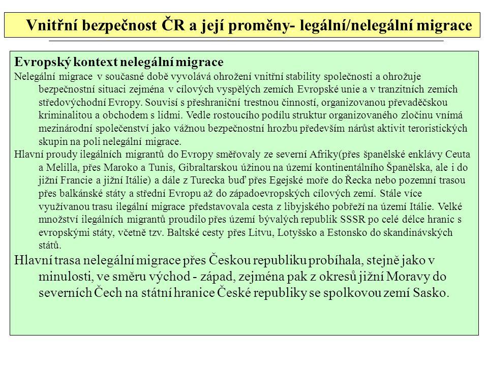 Vnitřní bezpečnost ČR a její proměny- legální/nelegální migrace