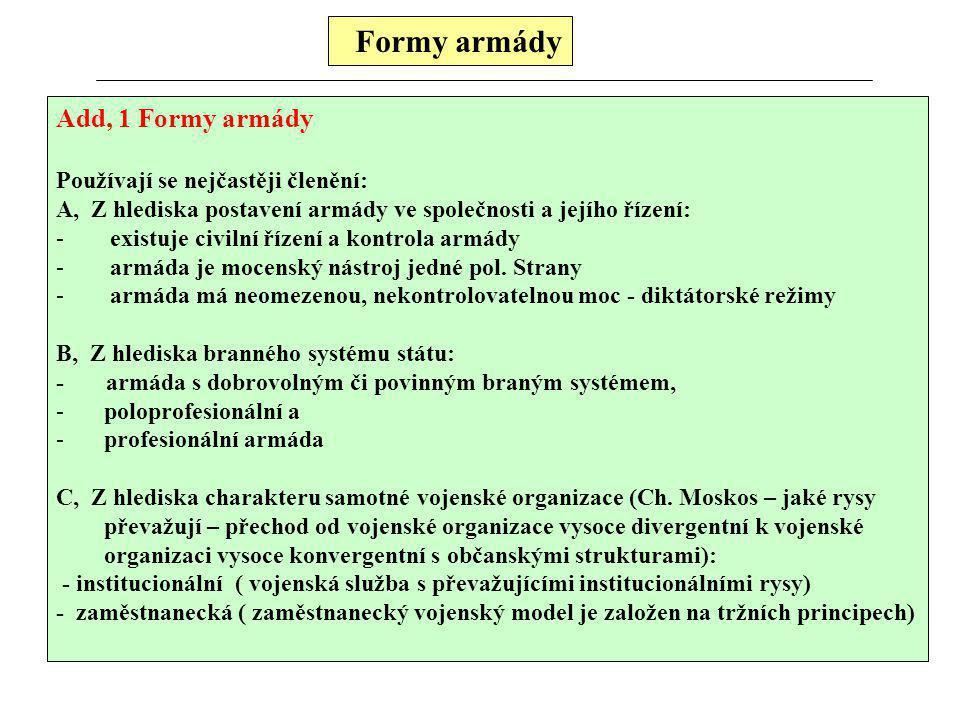 Formy armády Add, 1 Formy armády Používají se nejčastěji členění: