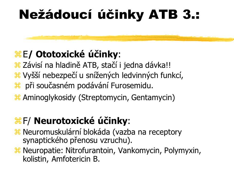 Nežádoucí účinky ATB 3.: E/ Ototoxické účinky: F/ Neurotoxické účinky: