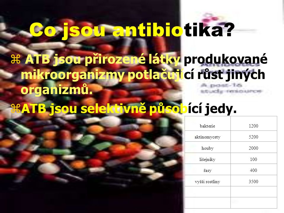 Co jsou antibiotika ATB jsou přirozené látky produkované mikroorganizmy potlačující růst jiných organizmů.