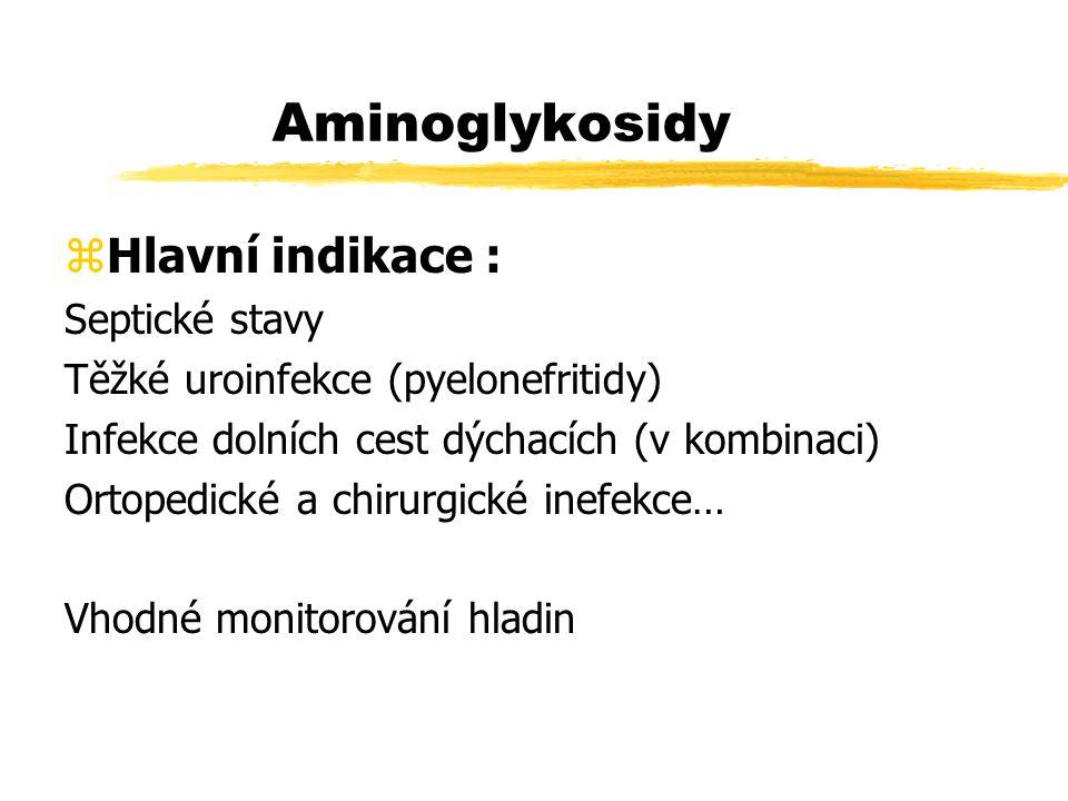 Aminoglykosidy Hlavní indikace : Septické stavy
