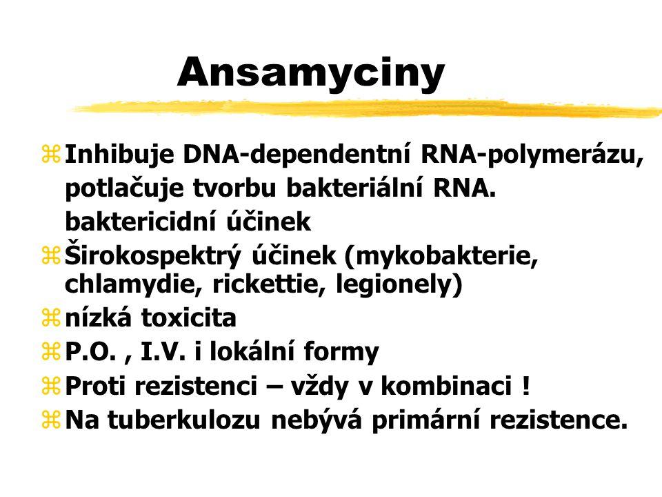 Ansamyciny Inhibuje DNA-dependentní RNA-polymerázu,