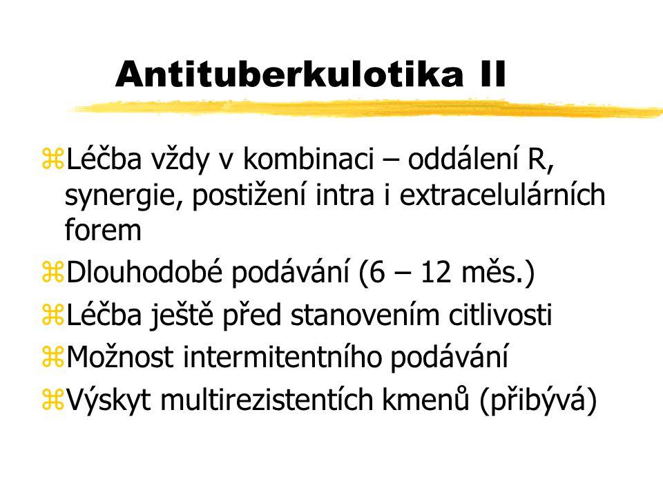 Antituberkulotika II Léčba vždy v kombinaci – oddálení R, synergie, postižení intra i extracelulárních forem.