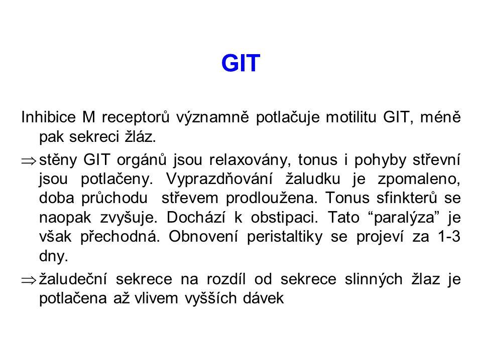 GIT Inhibice M receptorů významně potlačuje motilitu GIT, méně pak sekreci žláz.