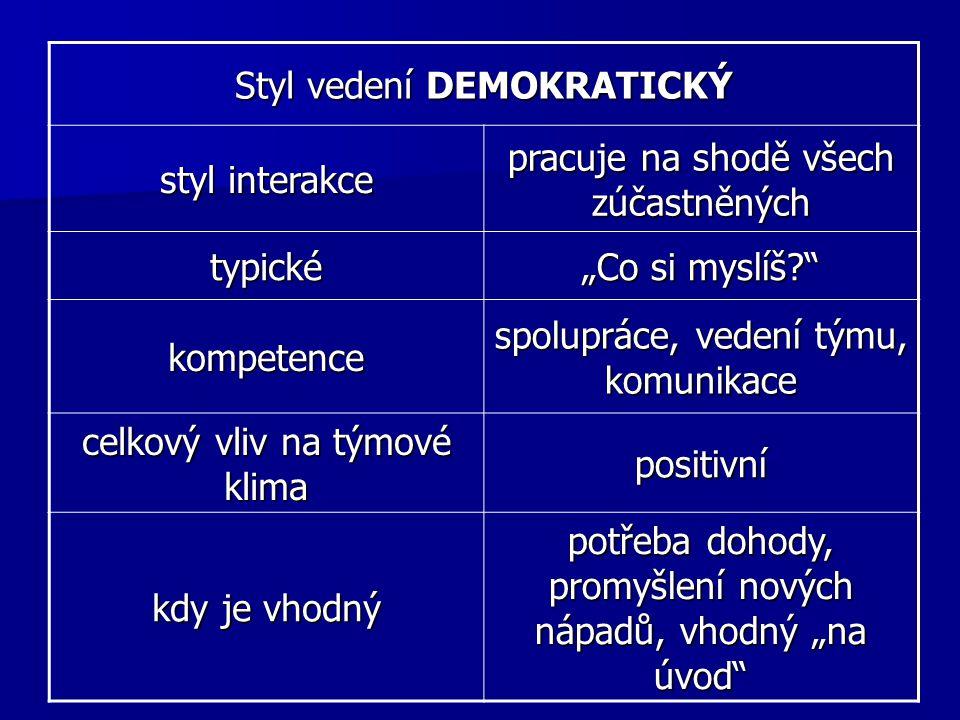 Styl vedení DEMOKRATICKÝ styl interakce