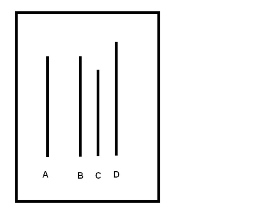 Která čára je stejně dlouhá jako čára A:D