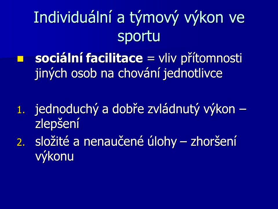 Individuální a týmový výkon ve sportu