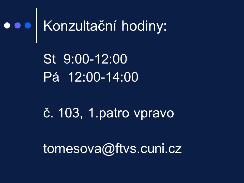 Konzultační hodiny: St 9:00-12:00 Pá 12:00-14:00