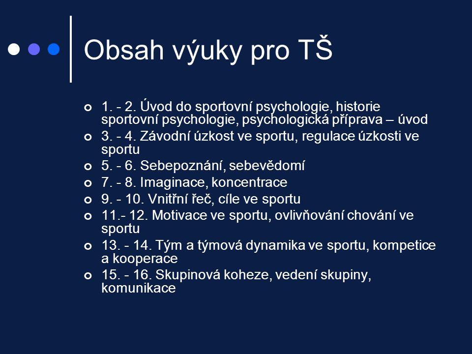 Obsah výuky pro TŠ 1. - 2. Úvod do sportovní psychologie, historie sportovní psychologie, psychologická příprava – úvod.