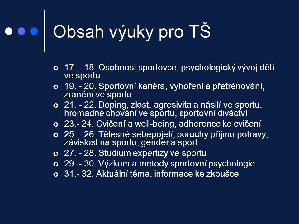 Obsah výuky pro TŠ 17. - 18. Osobnost sportovce, psychologický vývoj dětí ve sportu.