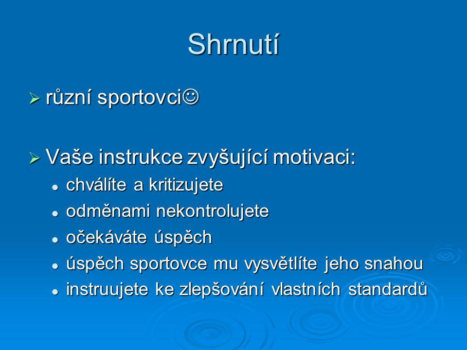 Shrnutí různí sportovci Vaše instrukce zvyšující motivaci: