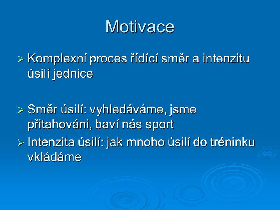 Motivace Komplexní proces řídící směr a intenzitu úsilí jednice