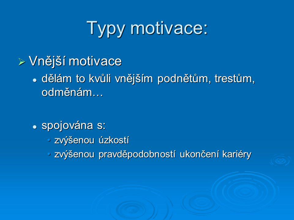 Typy motivace: Vnější motivace