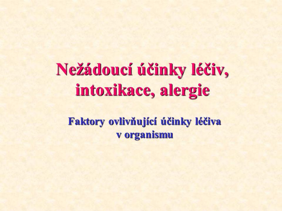 Nežádoucí účinky léčiv, intoxikace, alergie