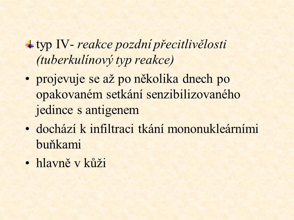 typ IV- reakce pozdní přecitlivělosti (tuberkulínový typ reakce)