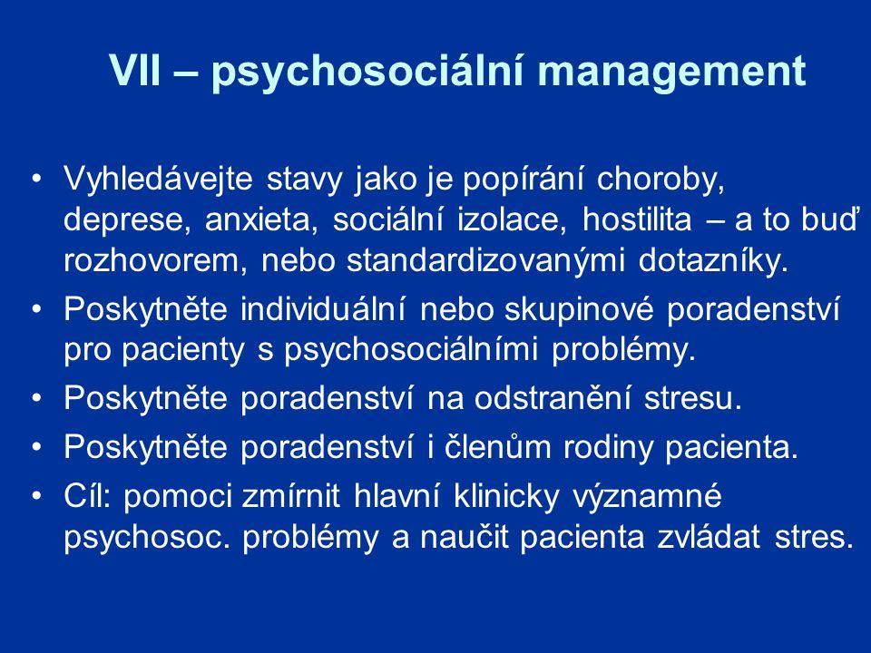 VII – psychosociální management