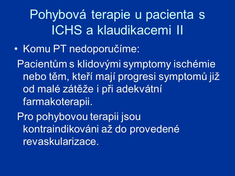 Pohybová terapie u pacienta s ICHS a klaudikacemi II