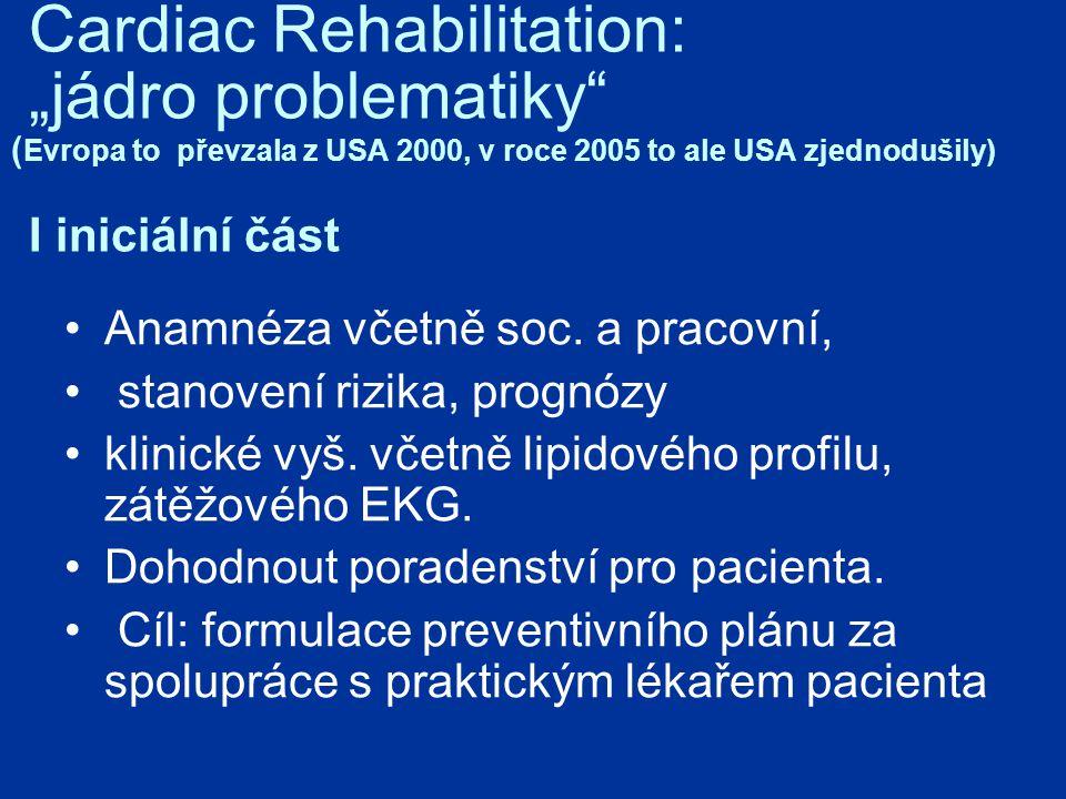 """Cardiac Rehabilitation: """"jádro problematiky (Evropa to převzala z USA 2000, v roce 2005 to ale USA zjednodušily) I iniciální část"""