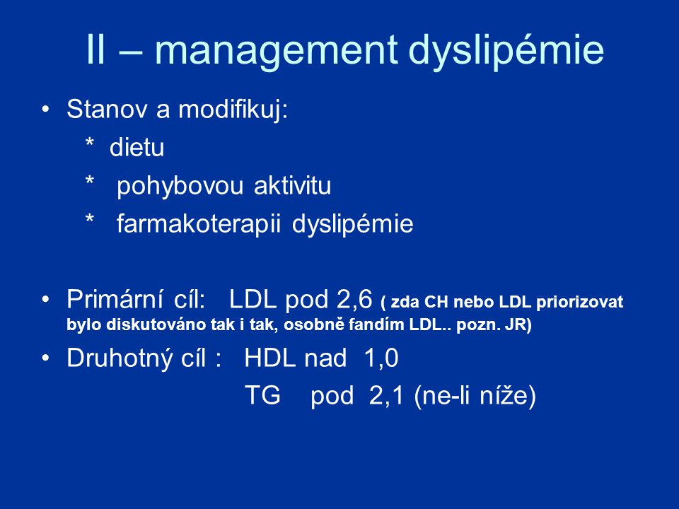 II – management dyslipémie