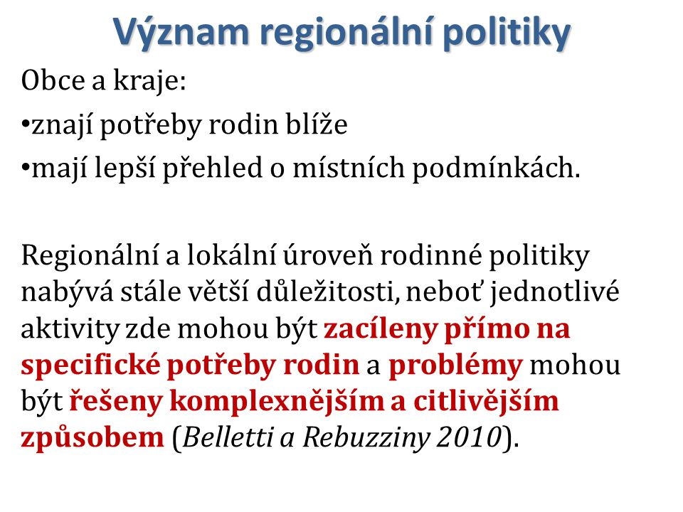 Význam regionální politiky