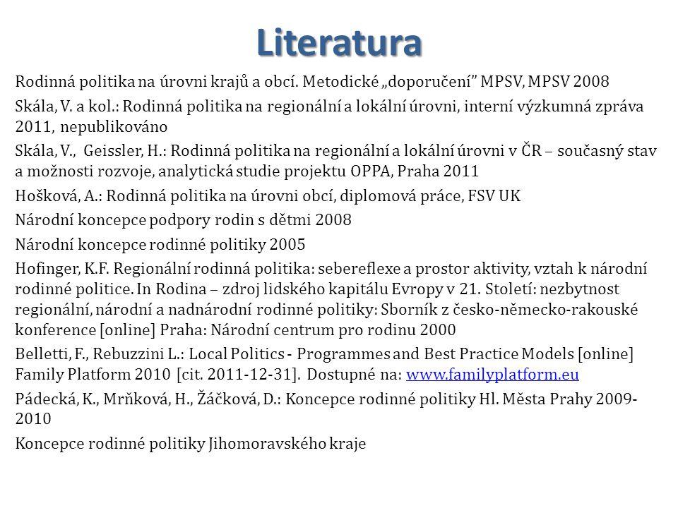 """Literatura Rodinná politika na úrovni krajů a obcí. Metodické """"doporučení MPSV, MPSV 2008."""