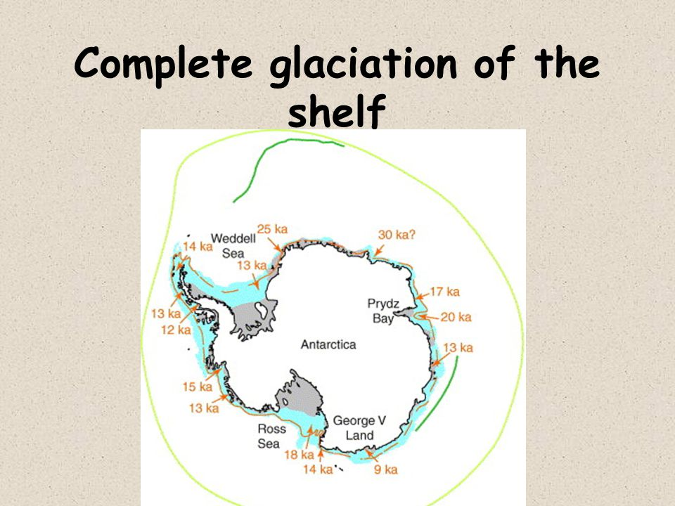 Complete glaciation of the shelf