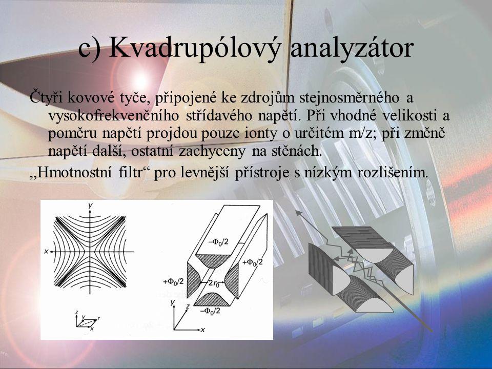 c) Kvadrupólový analyzátor