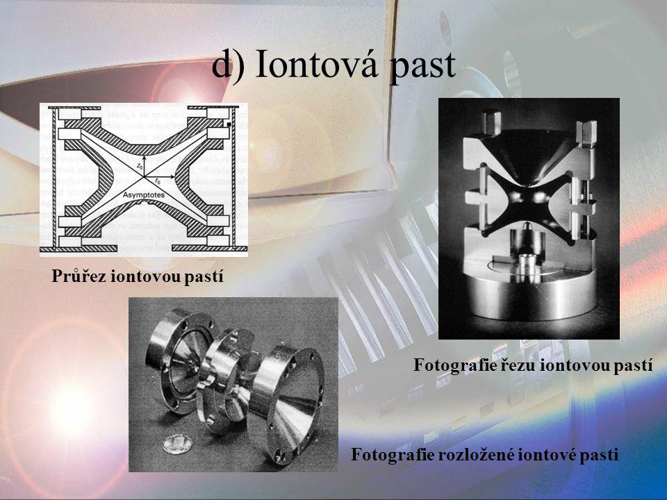 d) Iontová past Průřez iontovou pastí Fotografie řezu iontovou pastí