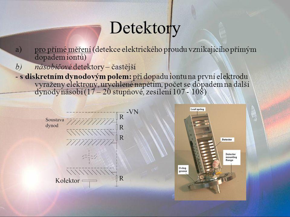 Detektory pro přímé měření (detekce elektrického proudu vznikajícího přímým dopadem iontů) násobičové detektory – častější.