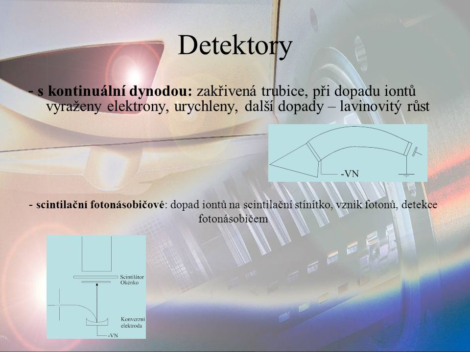 Detektory - s kontinuální dynodou: zakřivená trubice, při dopadu iontů vyraženy elektrony, urychleny, další dopady – lavinovitý růst.