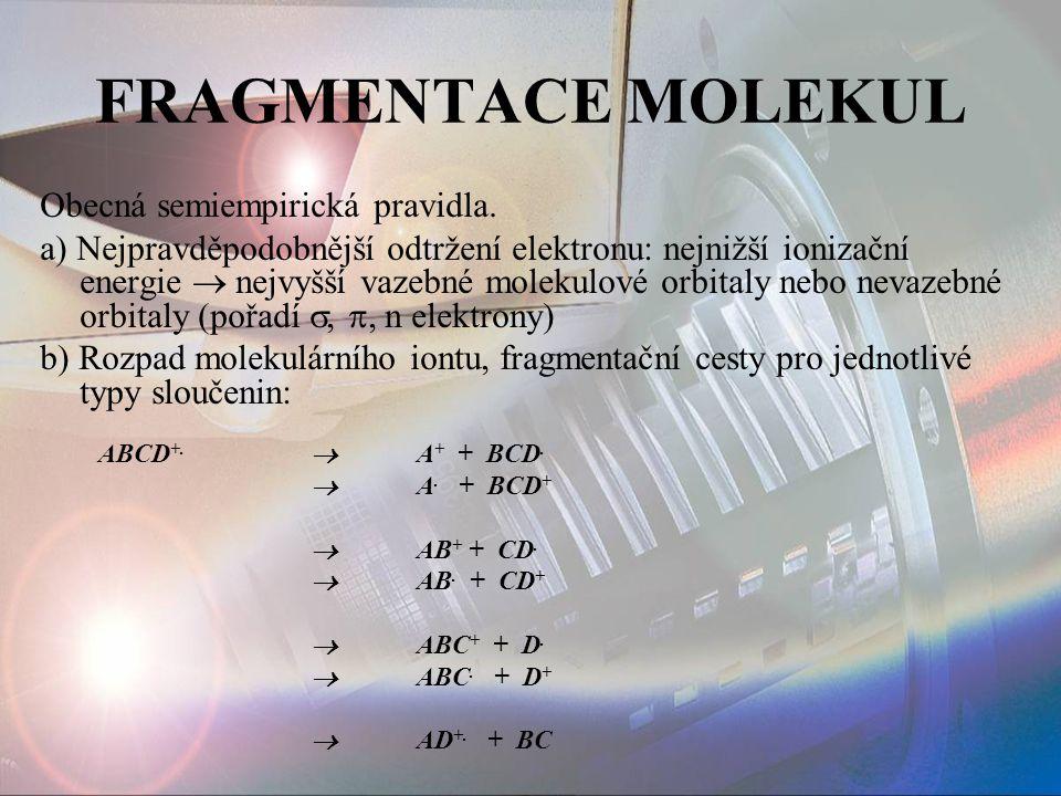 FRAGMENTACE MOLEKUL Obecná semiempirická pravidla.