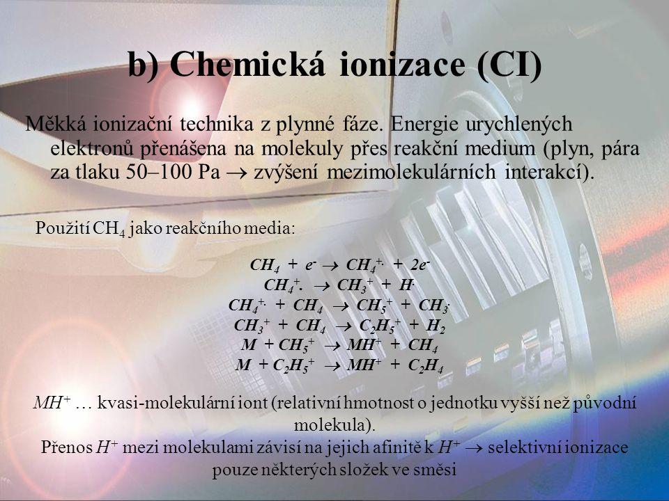b) Chemická ionizace (CI)