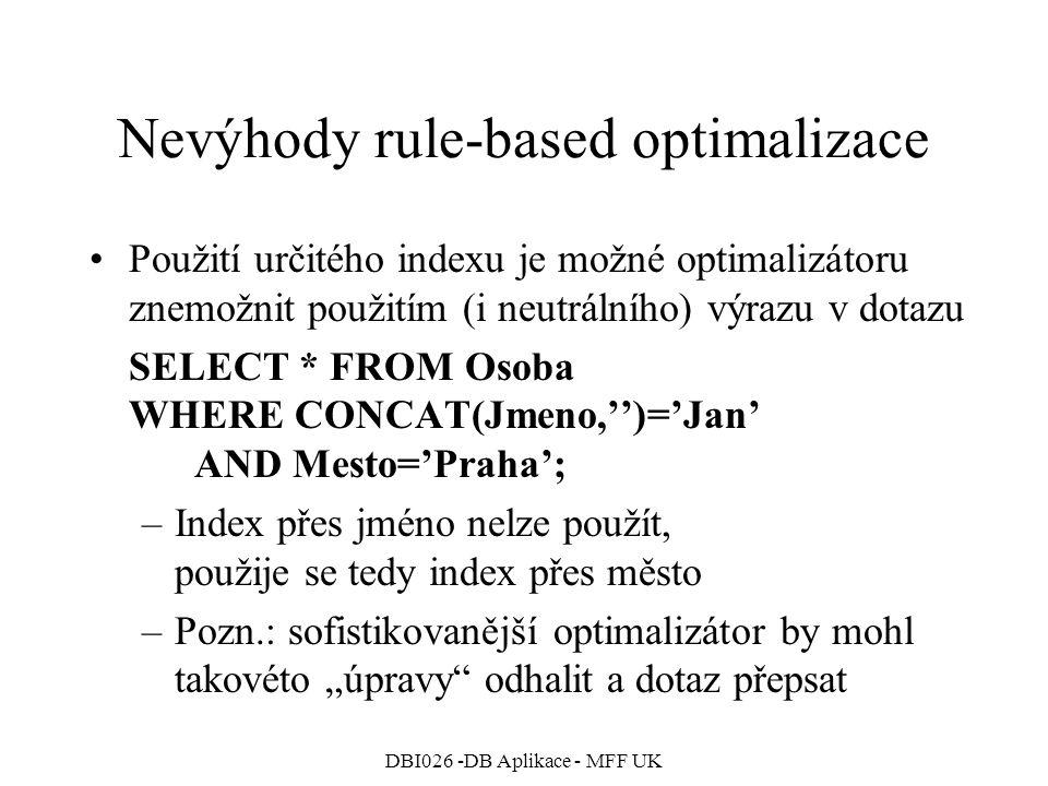Nevýhody rule-based optimalizace