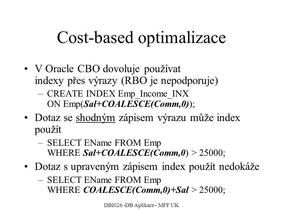 Cost-based optimalizace
