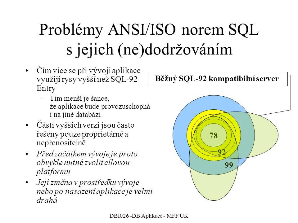 Problémy ANSI/ISO norem SQL s jejich (ne)dodržováním
