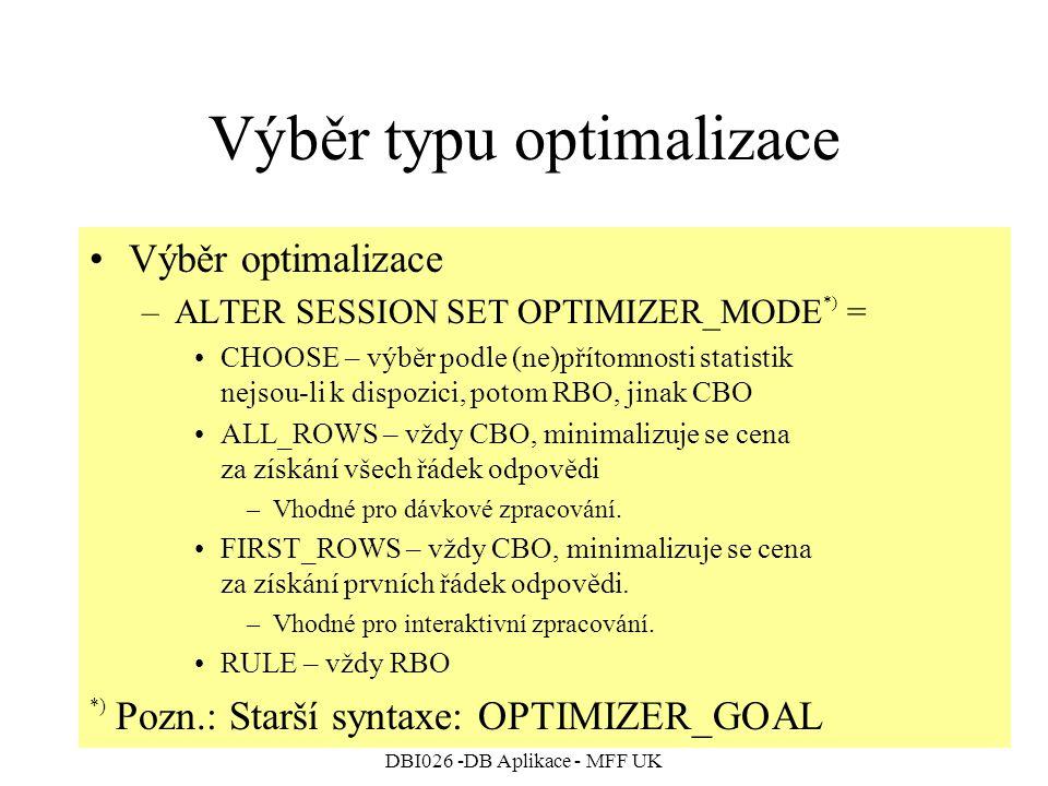 Výběr typu optimalizace