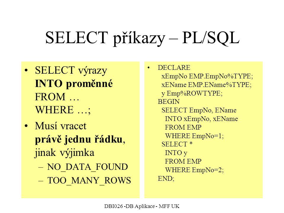 SELECT příkazy – PL/SQL