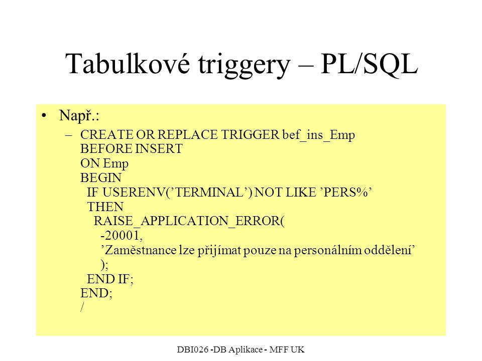 Tabulkové triggery – PL/SQL